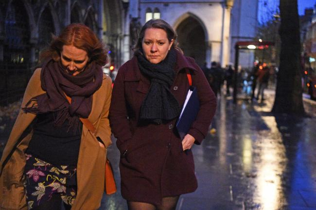 Labour candidate Anna Turley, pictured right, leaving the Royal Courts of Justice in London where she is fighting a libel case against Unite the union and Sqwawkbox. Picture: PA