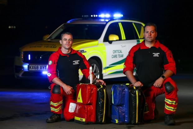 GNAAS paramedic Jamie Walsh and doctor Dion Arbid and the overnight rapid response car