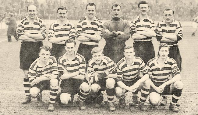 Darlington pictured in February 1952. Back (left to right): Bob Eaves, George Wardle, Roy Brown, Bill Dunn, DenisHowe and Jack Connors. Front: Baden Powell, Harry Yates, Jimmy Scarborough, Ken Murray and Gordon Galley