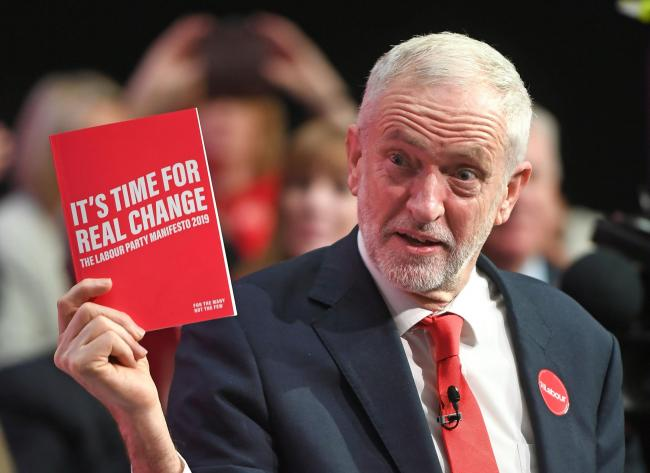 Labour Party leader Jeremy Corbyn during the launch of his party's manifesto in Birmingham. Picture: Joe Giddens/PA Wire