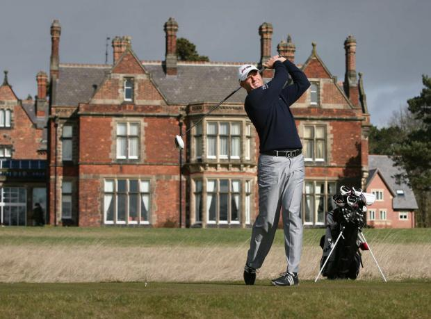 The Northern Echo: Graeme Storm, Rockliffe's first professional golfer, with the classic lines of Waterhouse's hall behind him