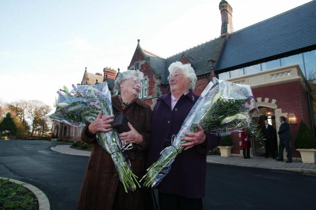 The Northern Echo: Dorothy Mounsey and Margaret Pratt, great-great grand nieces of Alfred Backhouse, opening Rockliffe Hall 10 years ago today