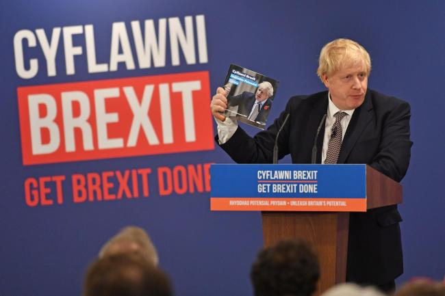Prime Minister Boris Johnson at the launch of the Conservative Party Welsh manifesto in Wrexham whilst on the General Election campaign trail. Picture: Jacob King/PA Wire