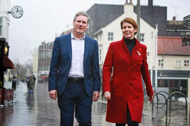 Sir Keir Starmer and Jenny Chapman in Darlington today Picture: SARAH CALDECOTT