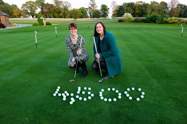 Broadacres' Chief Executive Gail Teasdale and Sara Dalton, from POSCH, on the putting green at Rockliffe Hall. The picture was taken before the £400 Wensleydale Heifer auction prize and the beat the professional money was added to the final to