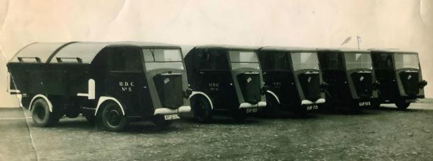 The Northern Echo: Bishop Auckland Urban District Council's fleet of refuse trucks, each of which had only one headlight