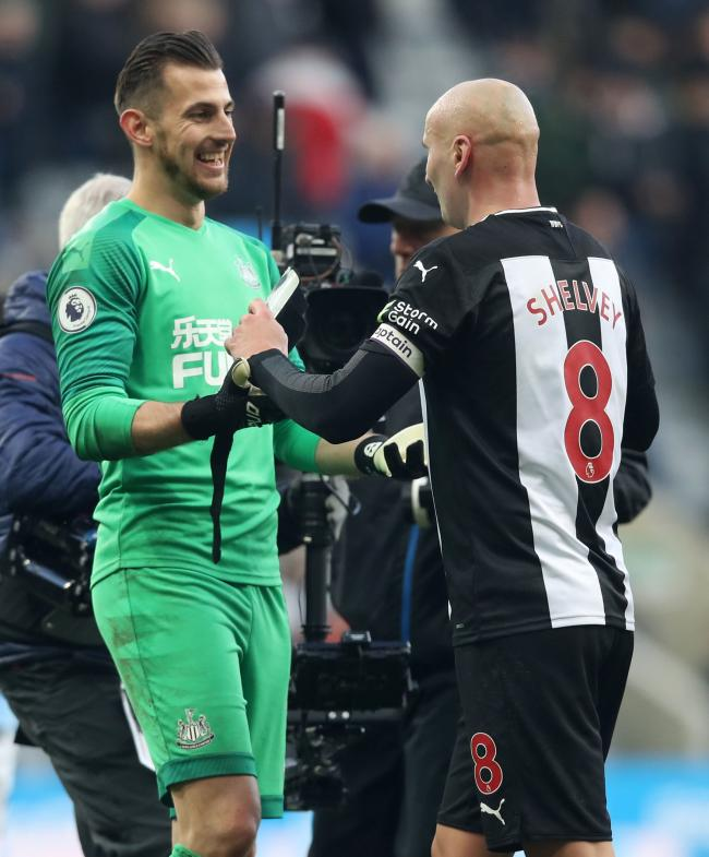 Martin Dubravka and Jonjo Shelvey congratulate each other in the wake of Newcastle's 2-2 draw with Manchester City (Picture: Owen Humphreys/PA Wire)