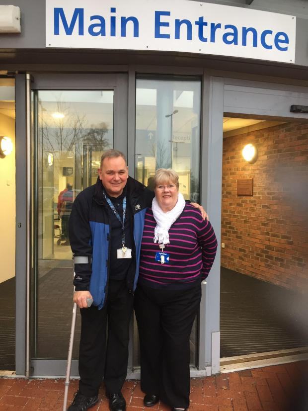 The Northern Echo: Steve Watson with NHS charity manager Pat Chambers outside University Hospital of North Durham