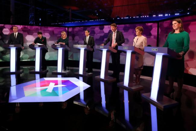 The BBC election debate with candidates from seven political parties. Picture: Hannah McKay/PA Wire