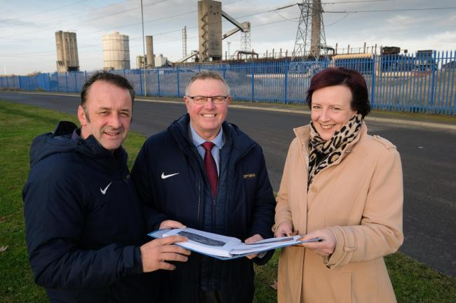 Company directors Peter Scott and Bob Borthwick pictured at the site with Karen King, deputy leader of Redcar & Cleveland Borough Council: Please Credit Picture:Keith Taylor