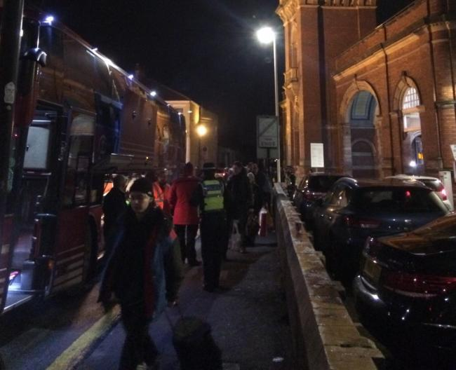 Passengers get on replacement bus services at Darlington Picture: ALEXA FOX