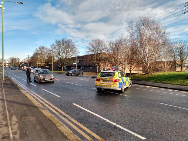 The Northern Echo: Police cordon off access to the scene of the incident on Newcastle Road, in Chester-le-Street. Picture: Gavin Engelbrecht