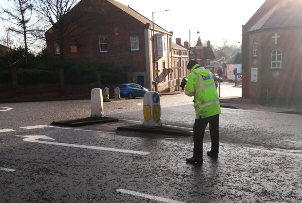 The Northern Echo: An officer from the accident investigation unit at the scene of the crash on Newcastle Road, in Chester-le-Street. Picture: Gavin Engelbrecht