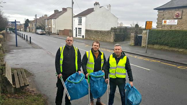 Christopher Schroeter, Andrew Hodgson and Andrew Hall picking litter around Toft HIll and Etherley