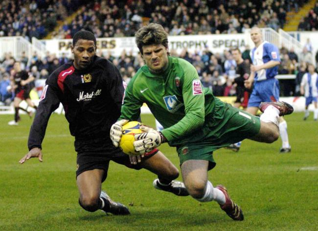 Dated 13/01/2007..Hartlepool goalkeeper Dimitrios Konstantopoulos catches the ball ahead of during the League Two clash between Hartlepool United and MK Dons at the Victoria Ground.