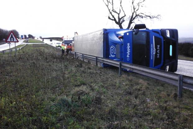 A lorry has overturned on the A66 between Scotch Corner and Barnard Castle. Picture: Highways England