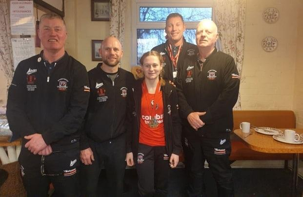 Robert Ellis, George Gallone, boxer Macy Gallone and coaches Mickey Thompson and Billy Ellis, from Spennymoor Boxing Academy