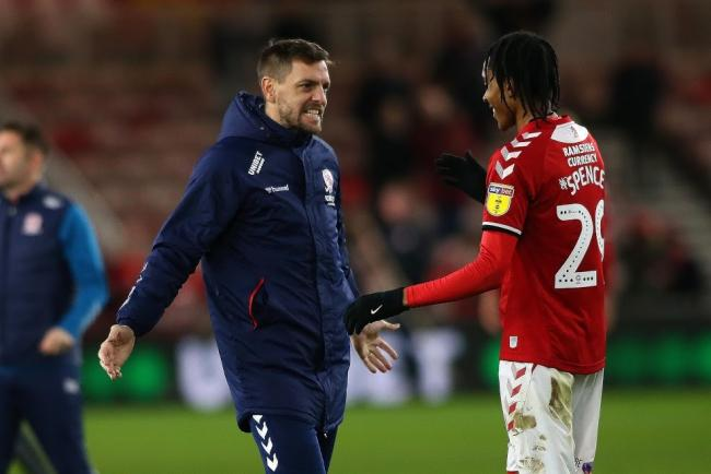 Jonathan Woodgate congratulates Djed Spence after the teenager impressed on his league debut against Charlton