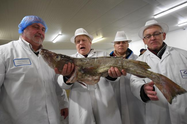 Prime Minister Boris Johnson holds a fish during a visit to Grimsby Fish Market, while on the General Election campaign trail. Picture: Stefan Rousseau/PA Wire