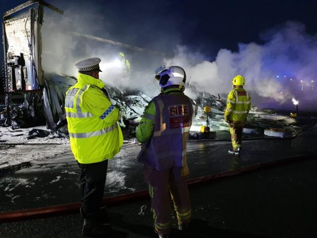 Lorry fire closes A1 in North Yorkshire