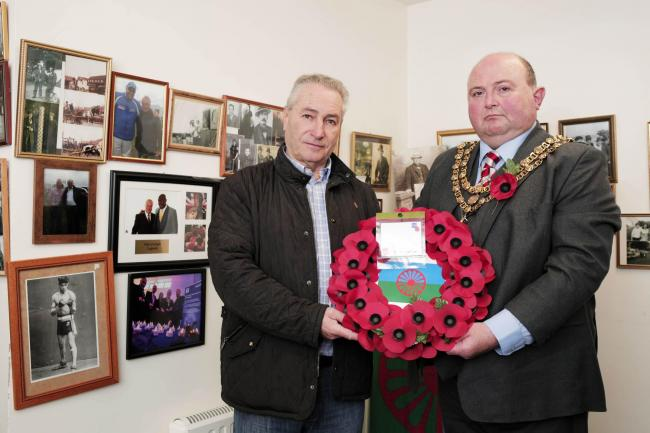 Billy Welch and the Mayor of Darlington, councillor Nick Wallis, with the wreath that Billy will lay at the cenotaph on Remembrance Sunday. Picture: STUART BOULTON.