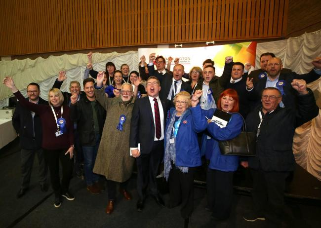 General Election 2019: Darlington Constituency Count. Conservative Party candidate Peter Gibson after he is declared the winner with his supporters. Picture: CHRIS BOOTH