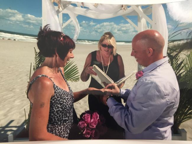 Mike and Jen getting married on a Florida beach after finding love at Butterwick Hospice