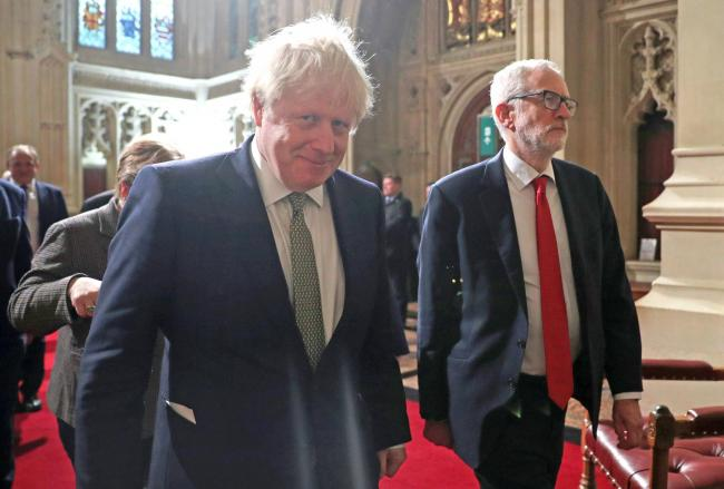 Prime Minister, Boris Johnson, and Labour Party leader, Jeremy Corbyn, arrive for the State Opening of Parliament by Queen Elizabeth II, in the House of Lords at the Palace of Westminster in London. Picture: Hannah McKay/PA Wire