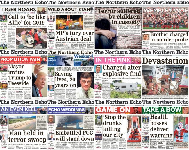Northern Echo front pages from 2019