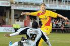 GOING FOR GOAL: Striker James Collins pulls a goal back for Darlington on Saturday