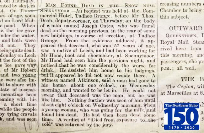 January 1, 1870: Man found dead in snow at Spennymoor