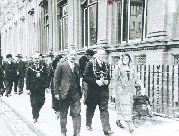 The Northern Echo: KEY FIGURES: March 27, 1933, Crown Street, Darlington: the opening of the extension of Darlington library. From left, Charles Urie Peat MP, Mayor Sir Charles Starmer, and Annabella Maw, who turned the key.