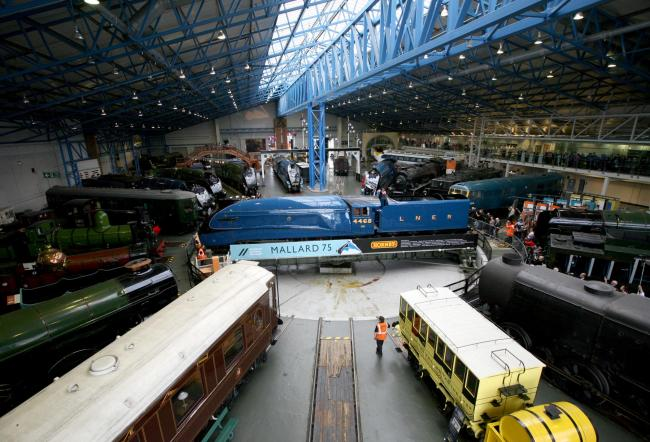 'The Great Gathering' at The National Railway Museum, in York - A celebration of 75 years since MALLARD claimed the world steam speed record...75 years ago today on the 3rd July 1938..Seen here Mallard being shunted into position around the turnta