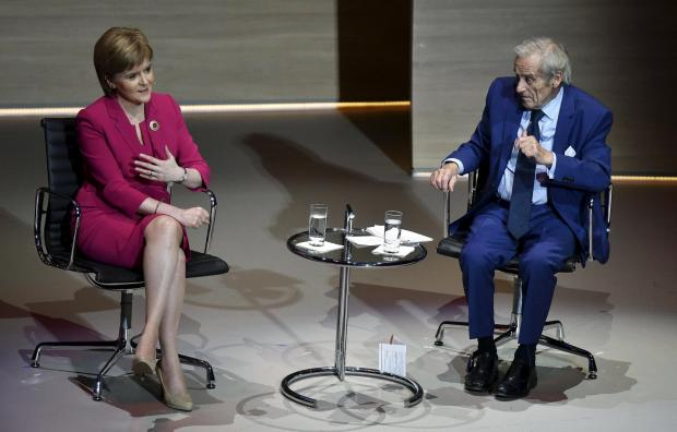 The Northern Echo: Scotland's First Minister Nicola Sturgeon is interviewed by Sir Harold Evans, Editor-at-Large of Thomson Reuters, at the Women in the World summit in London on October 9, 2015