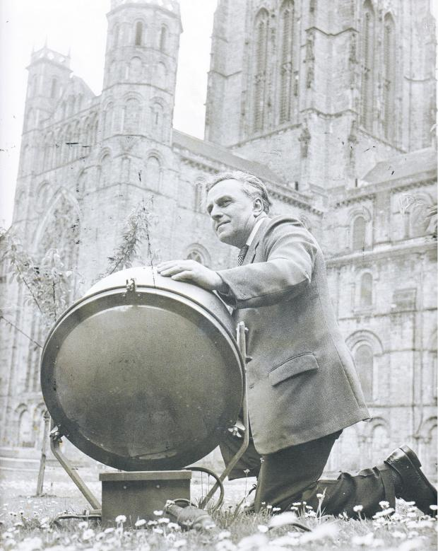 The Northern Echo: One of Harold Evans' most enduring achievements is the floodlighting of Durham cathedral. Here, the first floodlights are installed in July 1964 prior to Evans' son et lumiere fundraising concert