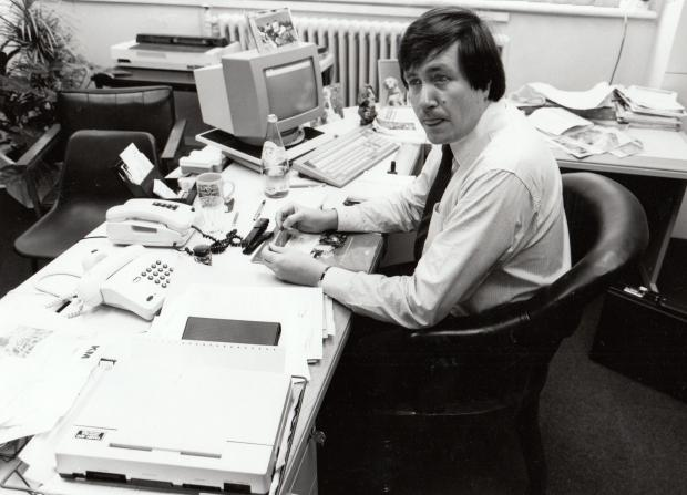 The Northern Echo: Allan Prosser, editor of The Northern Echo, 1982-89, editing the paper from WT Stead's chair