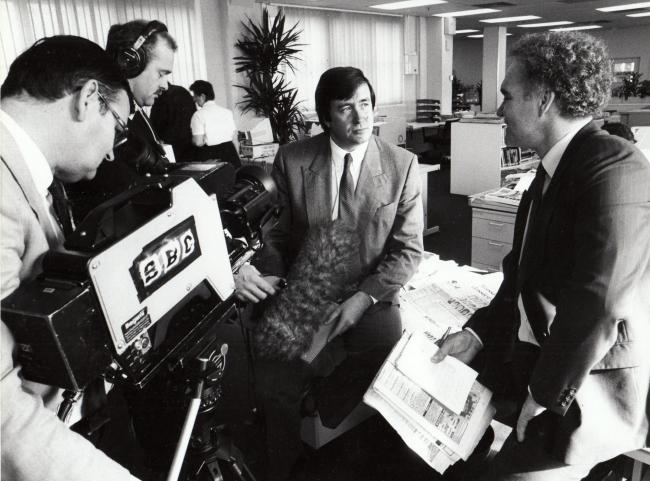 Allan Prosser being interviewed by BBC TV in 1989 when the Echo had acquired an IRA dossier
