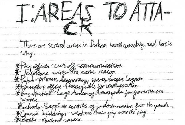 One of the handwritten documents seized from his bedroom