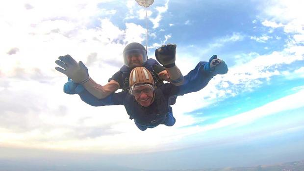 The Northern Echo: Alan Lambert during a free fall skydive in aid of the Alzheimer's Society