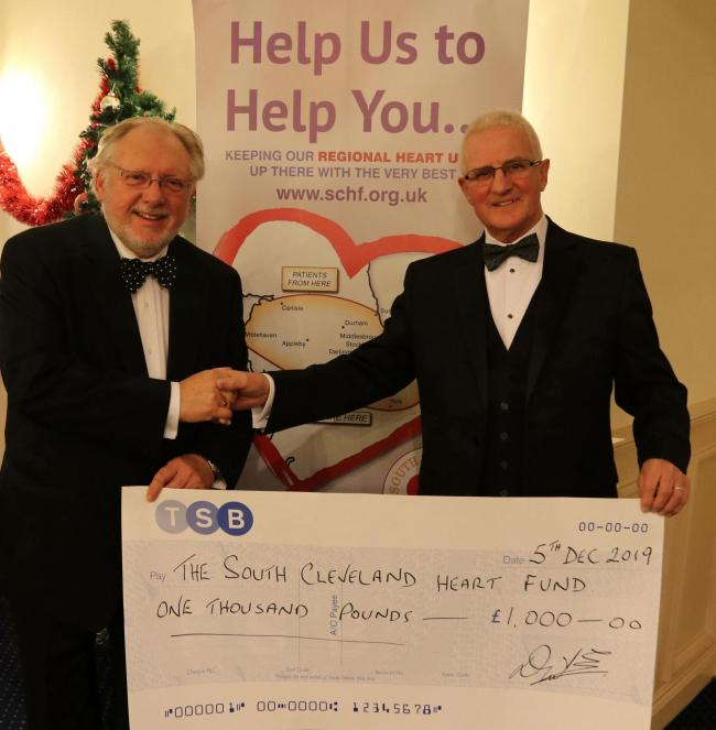 Huntcliff Freemasons present a cheque to the South Cleveland Heart Fund