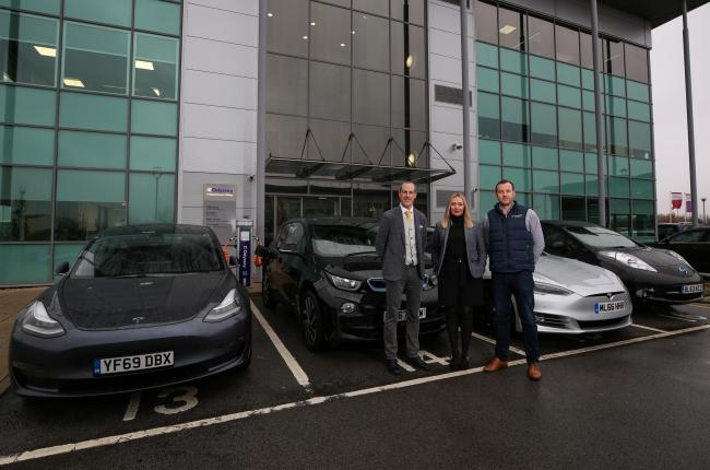 From left, Andrew Middlemiss, Jennifer Mullen and David Mullen, managing director of JDM Earth, with the new rapid charger