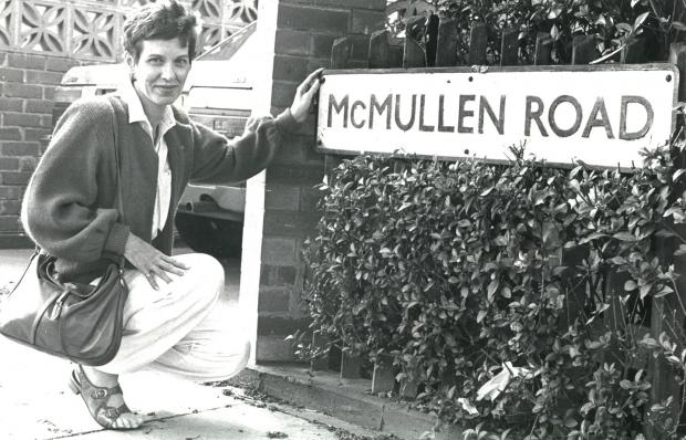 The Northern Echo: Daughter of heroic Second World War pilot William Stuart McMullen, Donna Mae Barber, visits the road in Darlington named after her father in 1985. He piloted his stricken Lancaster bomber away from the houses.