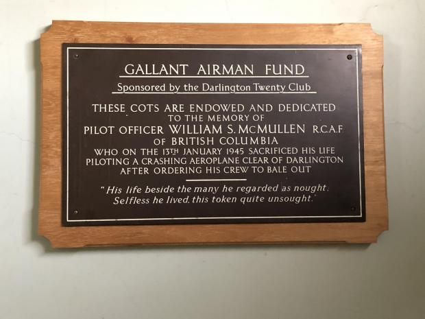 The Northern Echo: The Gallant Airman plaque at Darlington Memorial Hospital