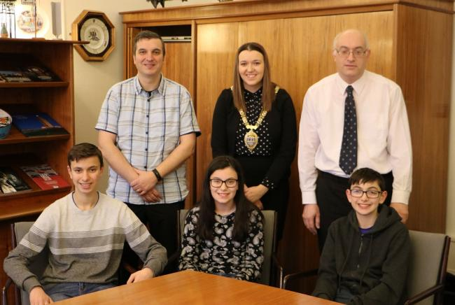 Back row, left to right: Chiara's father Patrick, Durham County Council Chairman Katie Corrigan, Chiara's uncle, Luigi