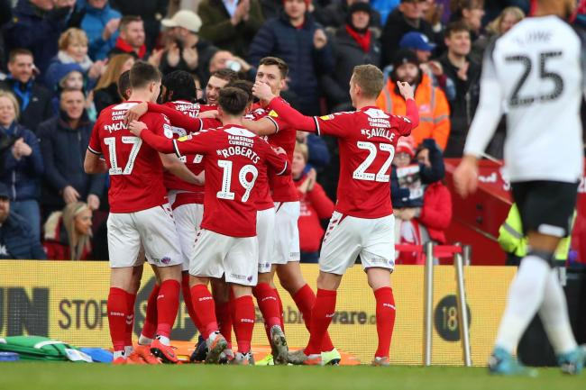 Middlesbrough FC V Derby. Sky Bet Championship. Boro celebrate Lewis WingÕs goal.Picture by Tom Banks