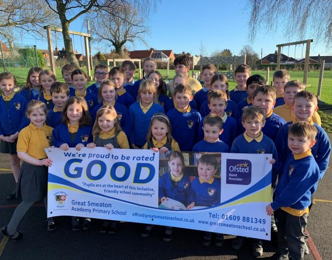 Great Smeaton Primary School pupils celebrate their 'good' Ofsted rating