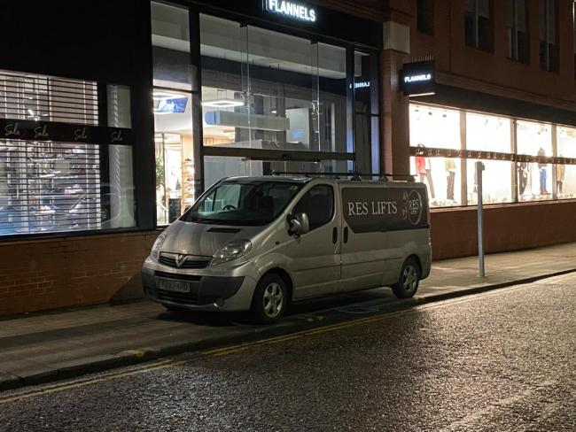 A contractor was seen at the Crown Street store in Darlington on Tuesday night Picture: JIM SCOTT