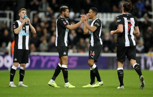 Joelinton celebrates with his team-mates after scoring in Newcastle United's FA Cup replay victory over Rochdale - the Brazilian had gone almost five months without finding the net prior to rounding off his side's 4-1 win