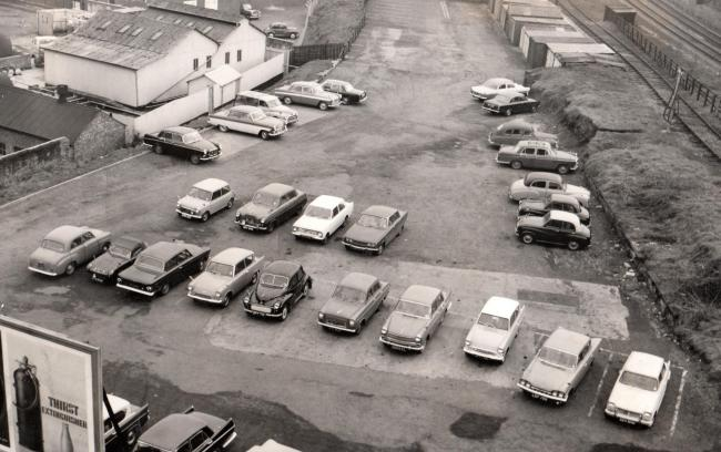 Odeon cinema car park, Bishop Auckland, in March 1966