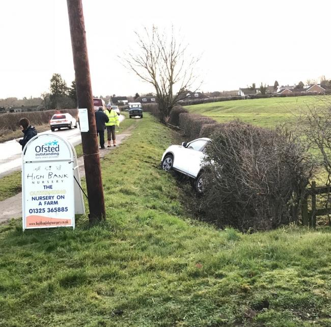 Lucky escape for mother and child involved in crash near High Bank Farm Nursery on Tuesday